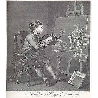 William Hogarth - Self portrait paiting Comedy Poster Print Giclee