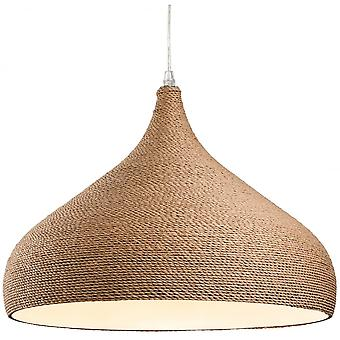 Firstlight Traditional Brown Rope Fabric Wooden Dome Ceiling Light Pendant