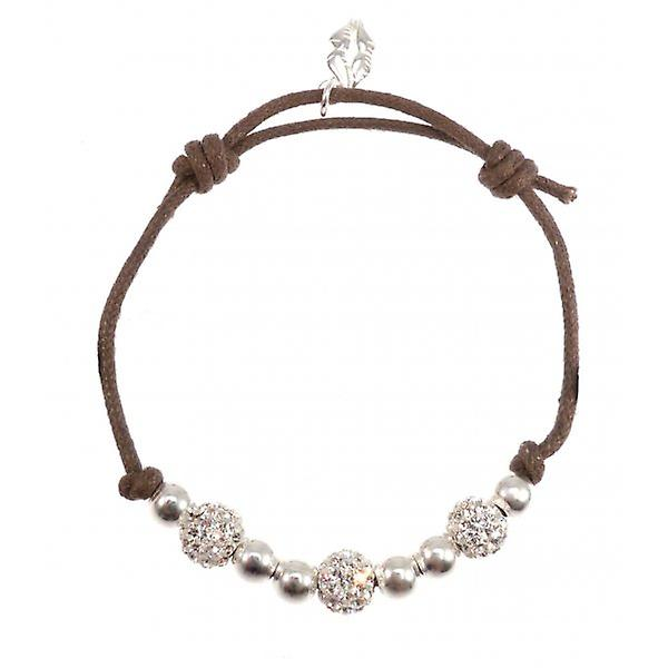 W.A.T Brown Cord 925 Sterling Silver Glitterball Friendship Bracelets