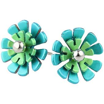 Ti2 Titanium Ten Double Petal Polished Bead Flower Stud Earrings - Green