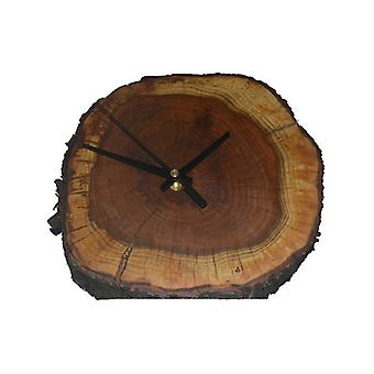 Wood wall clock tree disc made in Austria watch plum Damson wood
