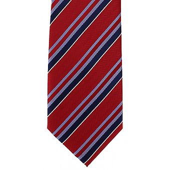 Michelsons of London Textured Stripe Polyester Tie - Red