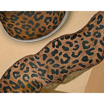 60mm Wide Leopard Print Wired Ribbon for Crafts - 10m