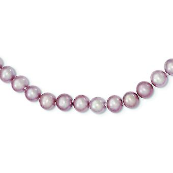 Sterling Silver Pearl clasp 7-8mm Purple Freshwater Cultured Pearl Necklace - Length: 16 to 24