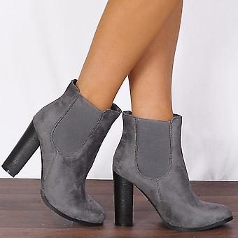 Shoe Closet Faux Suede Gusset Ankle Boots High Heeled Shoes