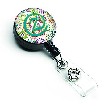 Letter Z Flowers Pink Teal Green Initial Retractable Badge Reel