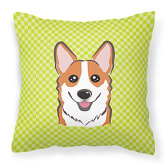 Checkerboard Lime Green Corgi Canvas Fabric Decorative Pillow