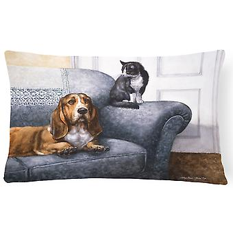 Basset Hound and Cat on couch Fabric Decorative Pillow