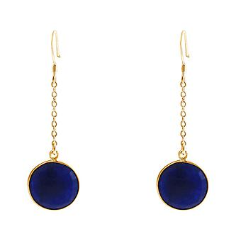 GEMSHINE ladies earrings made of high-quality gold-plated 925 Silver. 4.5 cm Yoga earrings with sapphires for excellent quality. Made in Madrid, Spain. In the elegant jewelry with gift box