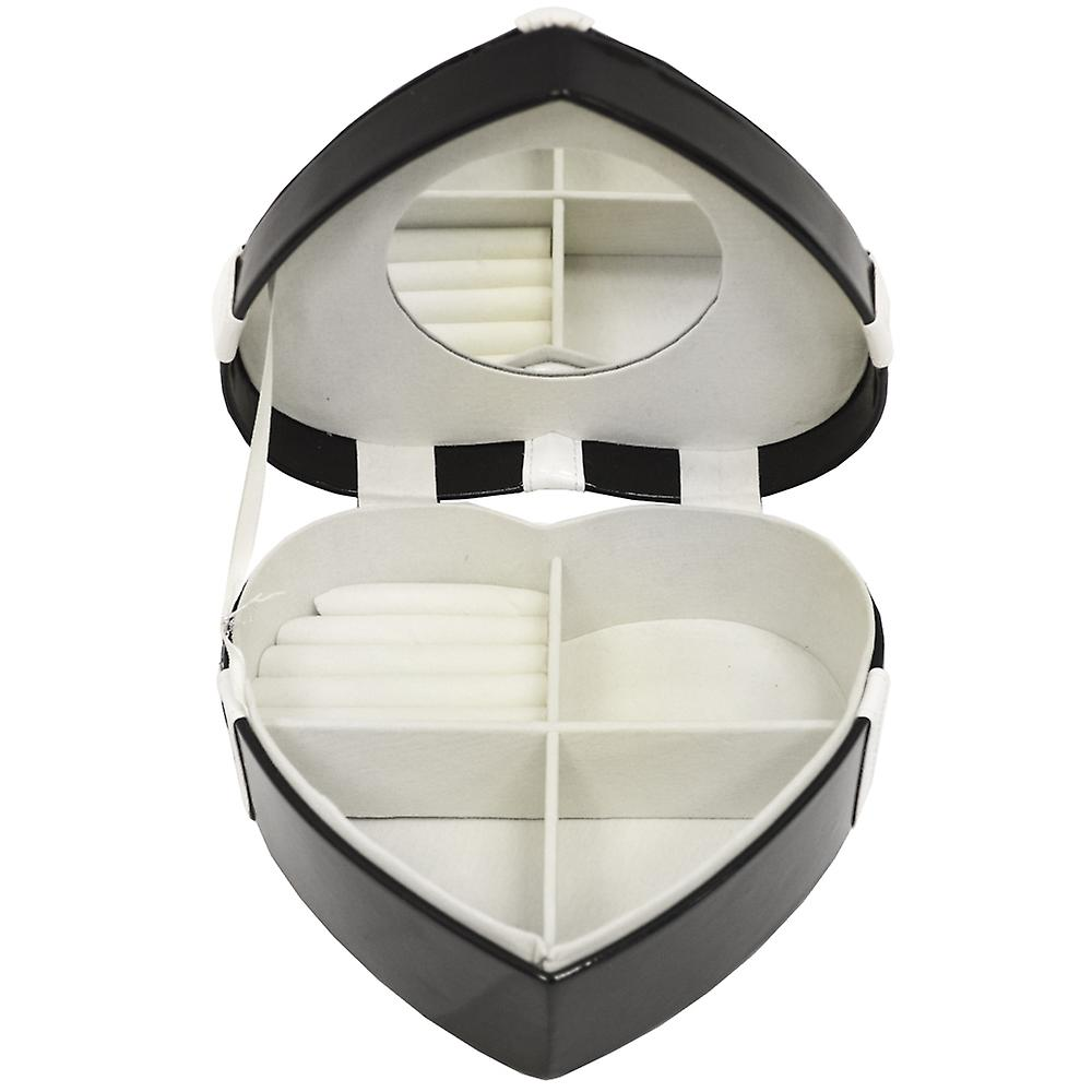 Chic - Medium Heart Jewellery Storage Box With Gift Bow - Black / White