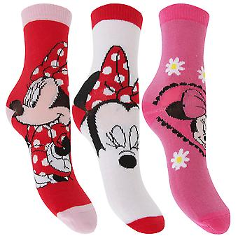 Disney Minnie Mouse Childrens Girls Official Patterned Socks (Pack Of 3)