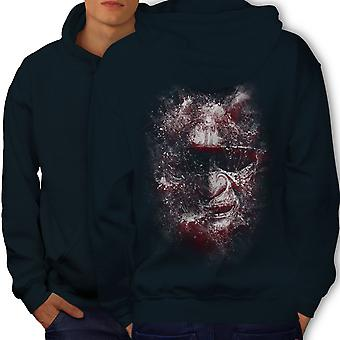 Katana Face Art Fantasy Men NavyHoodie Back | Wellcoda