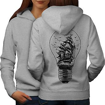 Ship Lightbulb Fashion Women GreyHoodie Back | Wellcoda