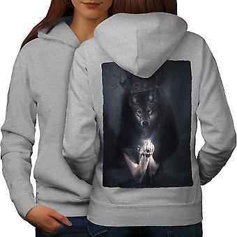 Wolf King Beast Animal Women GreyHoodie Back | Wellcoda