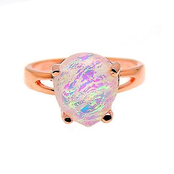Aviana Large Teardrop Lab Created Fire Opal Ring - Ginger Lyne Collection
