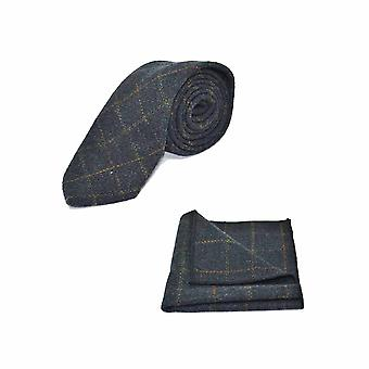 Heritage Check Navy Blue Tie & Pocket Square Set - Tweed, Plaid Country Look