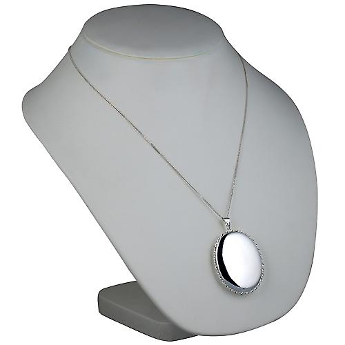 Silver 48x38mm plain twisted wire edge oval Locket with a curb Chain 22 inches