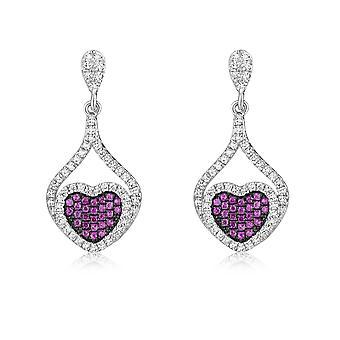 Silver hjärta örhängen och Crystal Swarovski Cubic Zirconia vitt och rosor