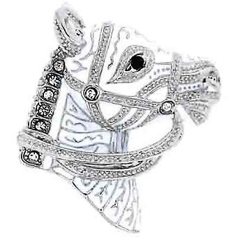 Brooches Store White Enamel Silver & Swarovski Crystal Horse Head Brooch
