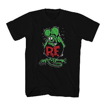 Rat Fink patife afligido camiseta preta masculino