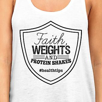 Faith Weights Womens White Funny Workout Tank Top Racerback Tanks