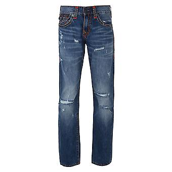 True Religion Blue EJDM Worn Ever Fade Ricky Flap Super T Jeans