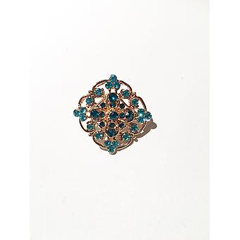 Gold and Mermaid Blue Brooch
