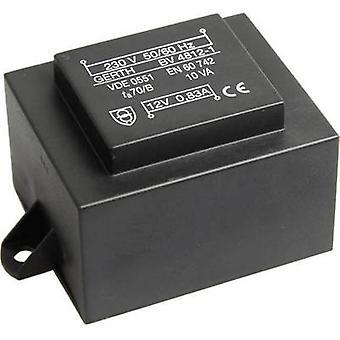 PCB mount transformer 1 x 230 V 1 x 12 V AC 10 VA 833 mA PT481201F Gerth