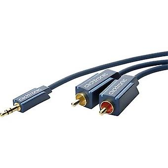 clicktronic Jack / RCA Audio/phono Cable [1x Jack plug 3.5 mm - 2x RCA plug (phono)] 10 m Blue gold plated connectors