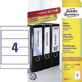 Avery-Zweckform Lever arch file labels L4761-25 61 x 192 mm Paper White Permanent 120 pc(s)