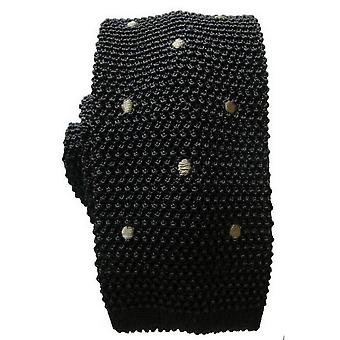 KJ Beckett Spotted Knitted Tie - Grey/Charcoal