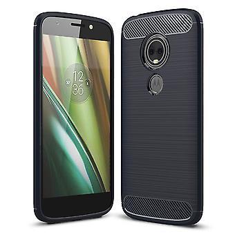 Juego Motorola Moto E5 TPU caso carbono fibra óptica cepillado azul caja protectora