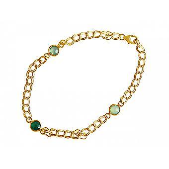 Chapado en oro de Meeresgrün - cadena - damas - pulsera - suaves - Esmeralda - Calcedonia - verde-