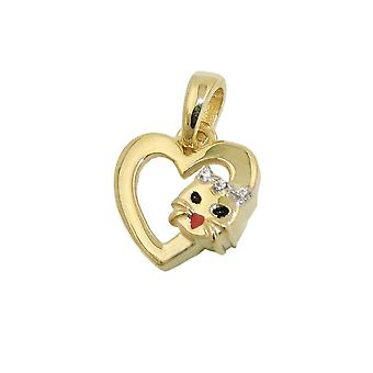 Heart pendant with cat 10x10mm 9Kt GOLD