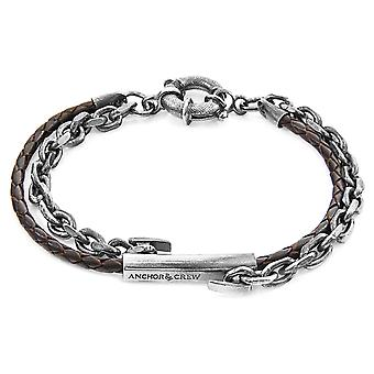 Anchor & Crew Dark Brown Belfast Silver and Braided Leather Bracelet