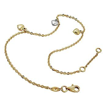 Ankle chain 3 hearts 9k gold 25cm