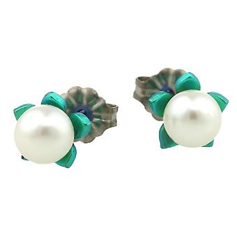 Ti2 Titanium Small Flower and Pearl Stud Earrings - Kingfisher Blue