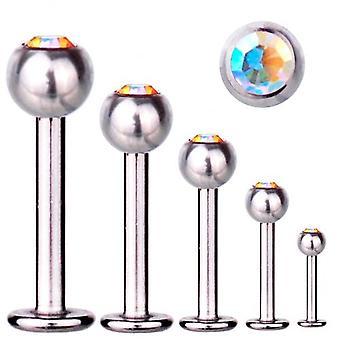 Labret Bar Tragus Piercing titanio 1, 6 mm, elementos de SWAROVSKI Aurora Boreal
