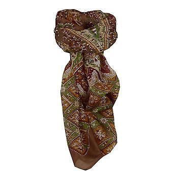 Тутовых шелка традиционными квадратный шарф Nagal кофе, пашмины & шелка