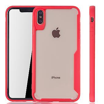 Rote Premium Apple iPhone XS Max Hybrid-Editon Hülle | Unterstützt Kabelloses Laden | aus edlem Acryl mit weichem Silikonrand Rot