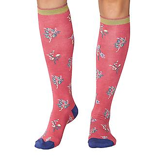Field flower women's soft bamboo knee-high socks in blush | By Thought