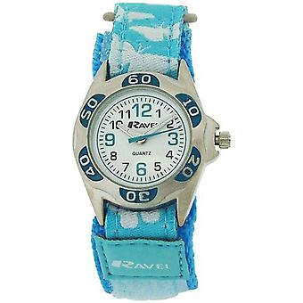 Ravel Girls White Dial Blue / White Butterfly Easy Fasten Strap Watch R1507.52