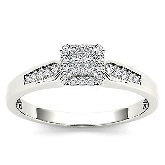 IGI Certified 10k White Gold 0.23 Ct Princess Cut Diamond Halo Engagement Ring