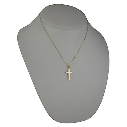 9ct Gold 25x15mm plain block Cross with Belcher chain