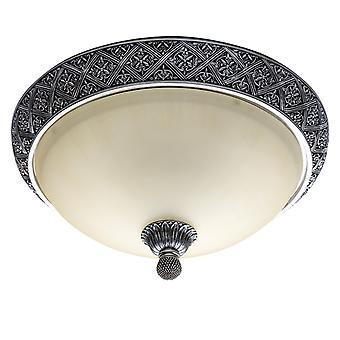 Glasberg - antik Silver fyra ljus Flush montering med Matt glasskärm 254015304