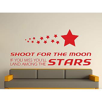 Shoot For The Moon Wall Art Sticker - Cherry Red