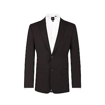 Dobell Mens Black Suit Jacket Regular Fit Notch Lapel