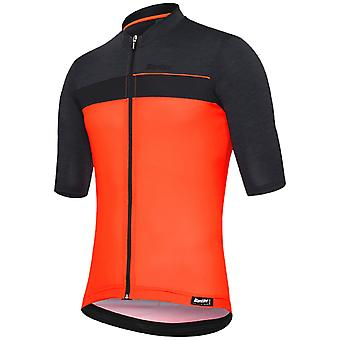 Santini Fluo Orange 2019 Stile Short Sleeved Cycling Jersey