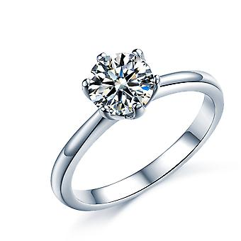 925 Sterling Silver Six Claws Round Cut Solitaire Engagement Ring
