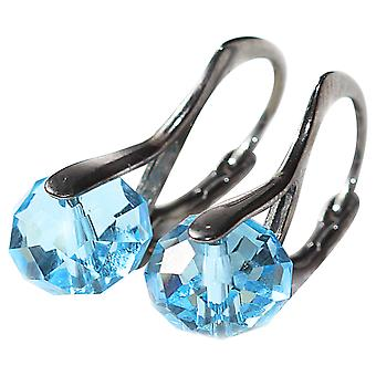Ah! Jewellery Aqua Marine Briolette Crystals From Swarovski, Sterling Silver Earrings